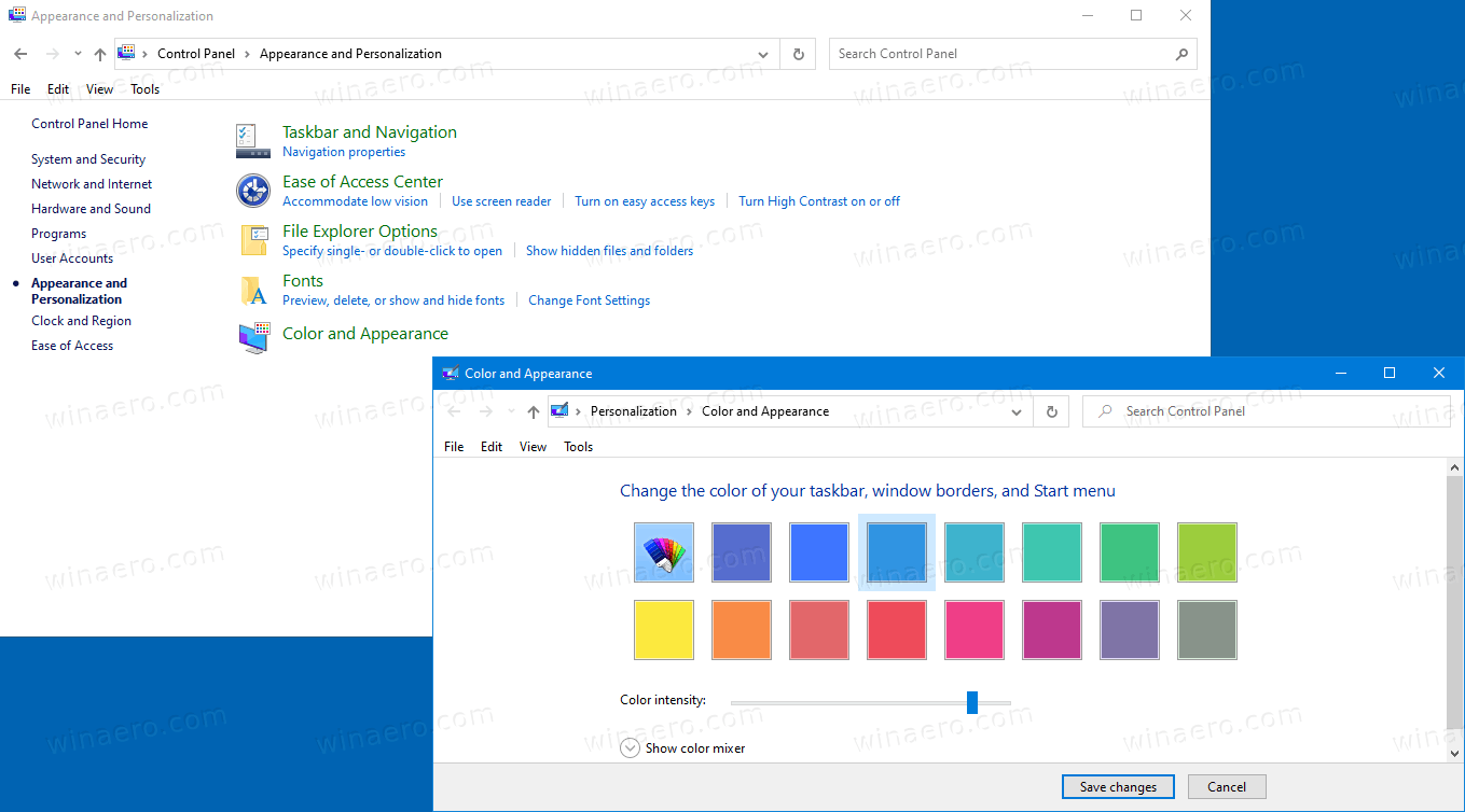 Add Color And Appearance To Control Panel In Windows 10