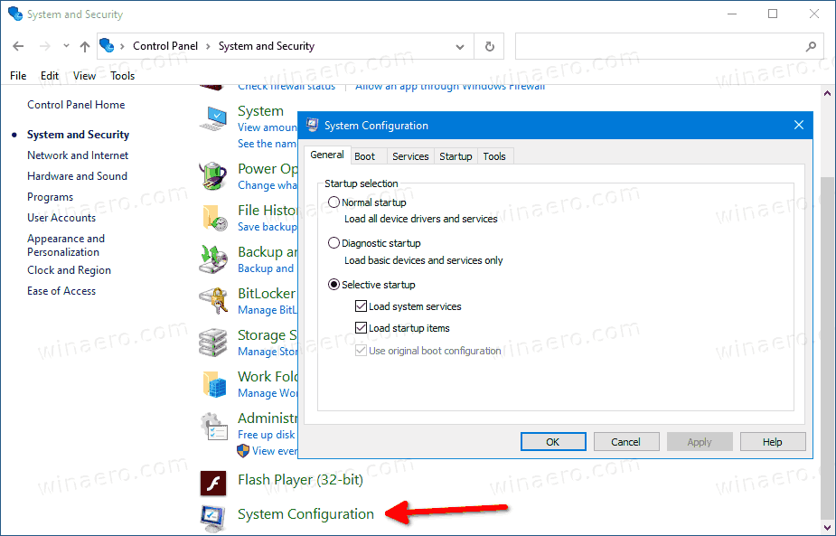 Add MSConfig To Control Panel