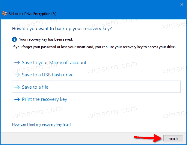BitLocker Finish Button For Recovery Key Dialog