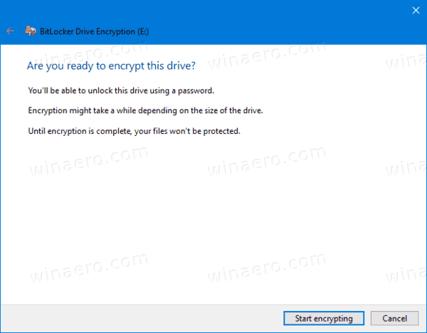 Bitlocker Start Encrypting Fixed Drive