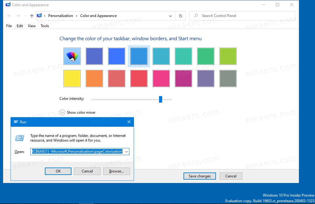 Classic Color And Appearance Dialog In Windows 10