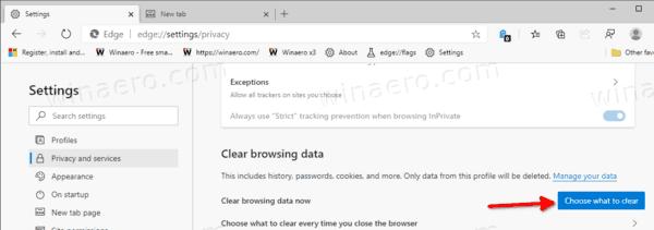 Clear Browsing Data In Microsoft Edge Chromium In Settings
