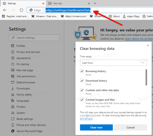 Clear Browsing Data In Microsoft Edge Chromium With Internal URL