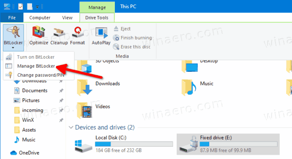 Disable Bitlocker For Fixed Drive In Ribbon