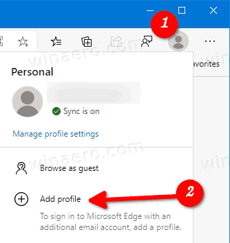 Microsoft Edge Add Profile From People Icon