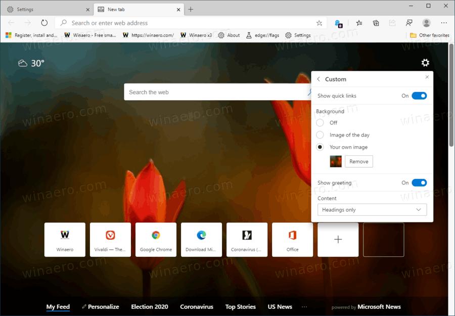 Microsoft Edge Custom New Tab Page Background Image
