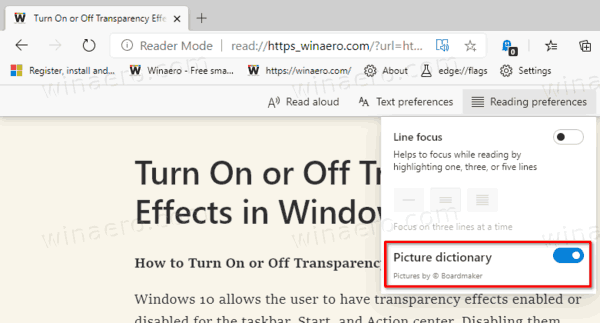 Microsoft Edge Enable Picture Dictionary For Immersive Reader