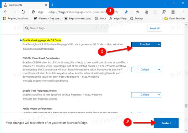 Microsoft Edge Enable QR Code Button