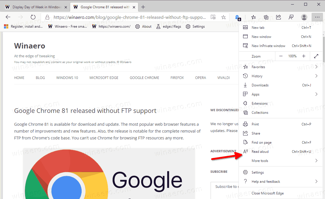 Microsoft Edge Immpersive Reader Mode Read Aloud