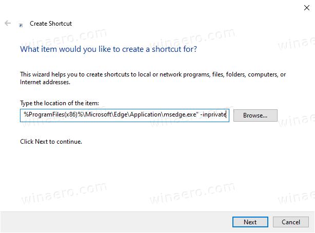 Microsoft Edge InPrivate Shortcut