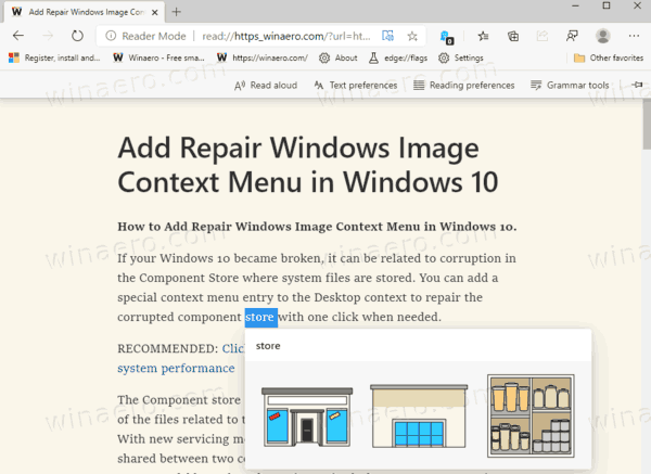 Microsoft Edge Picture Dictionary In Immersive Reader In Action