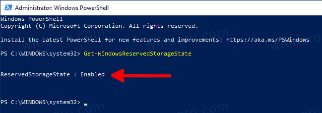 PowerShell Get Reserved Storage State