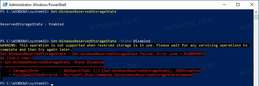 PowerShell Reserved Storage Servicing