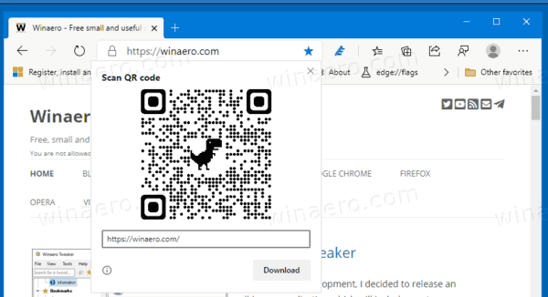 Share Page URL Via QR Code In Microsoft Edge Chromium