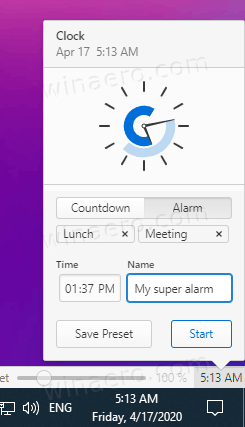 Vivaldi Clock Alarm Feature