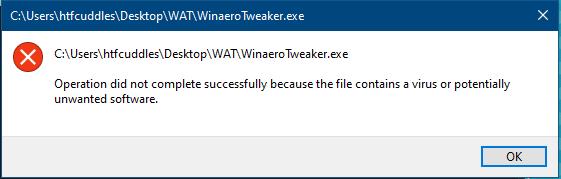 Winaero Tweaker Flagged By Defender 4