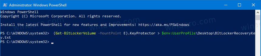 Windows 10 BitLocker Back Up Your Recovery Key In Powershell