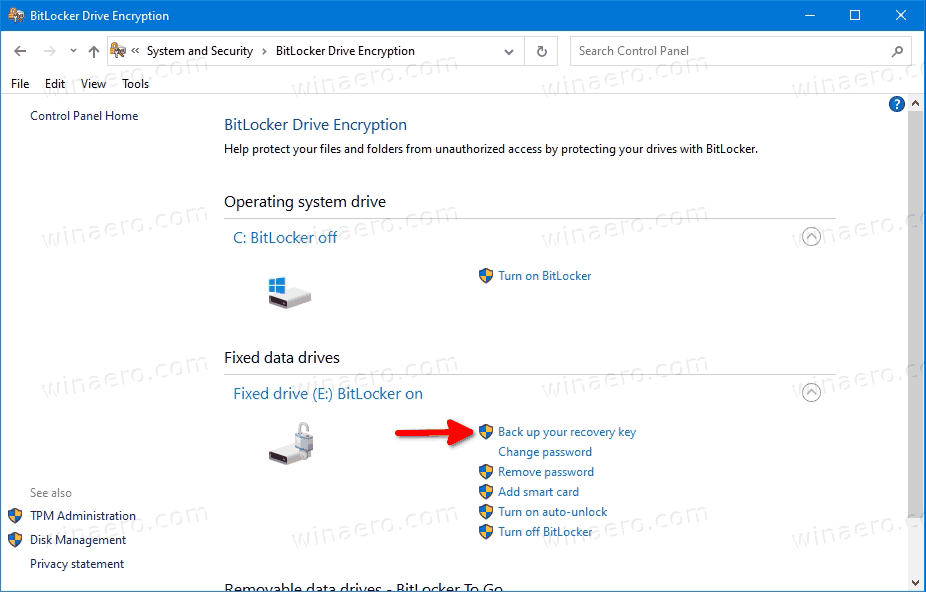 Windows 10 BitLocker Back Up Your Recovery Key Link