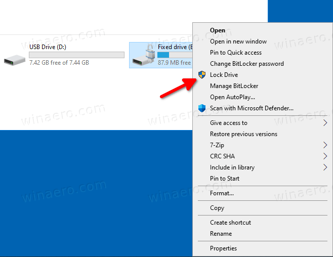 Windows 10 BitLocker Lock Drive Context Menu