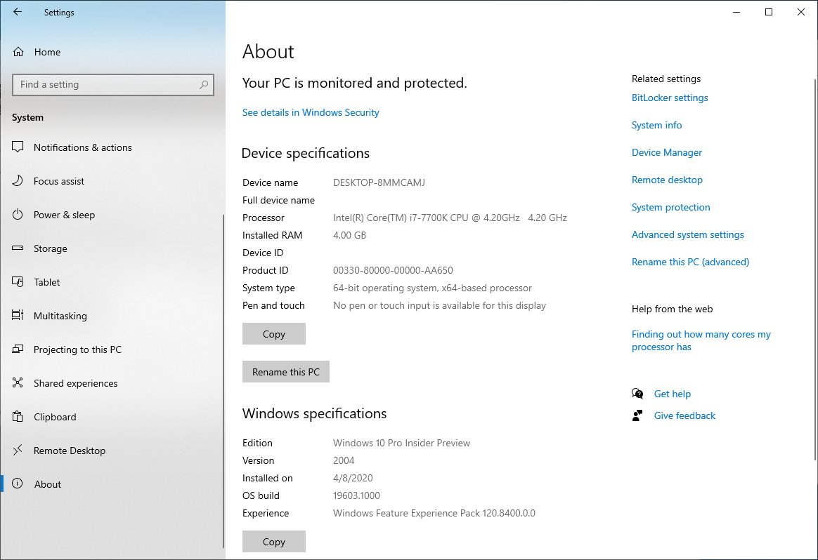 Windows 10 New About Page