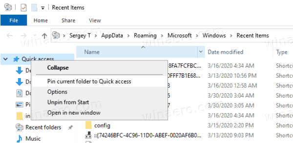 Windows 10 Pin Recent Items To Quick Access