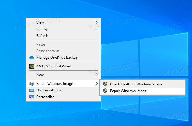 Windows 10 Repair Windows Image Context Menu
