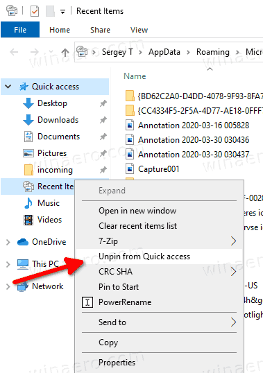 Windows 10 UnPin Recent Items From Quick Access