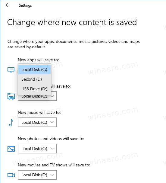 Windows 10 Windows Apps Save Location In Settings