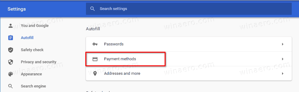 Chrome Autofill Payment Methods