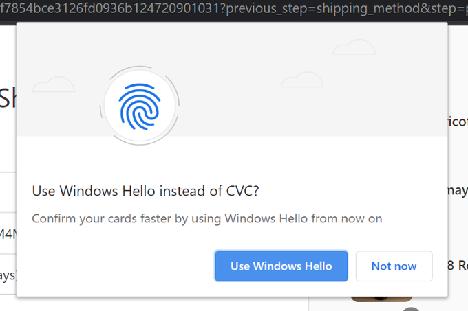 Chrome Windows Hello Payments