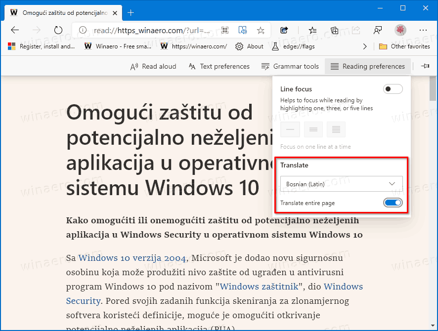 Microsoft Edge Translate Page Immersive Reader