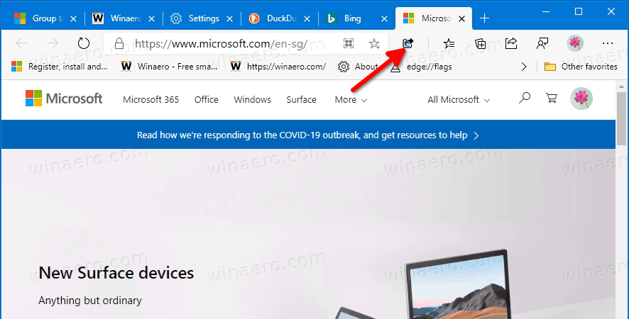 Microsoft Tab Group And Share Extension Toolbar Button