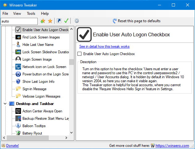 Tweaker Enable Auto Logon Checkbox