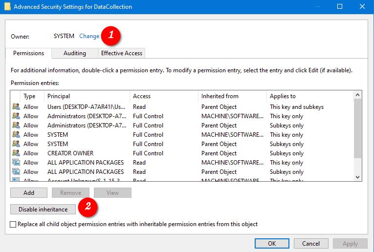 Windows 10 Disable Inheritance For Registry Key