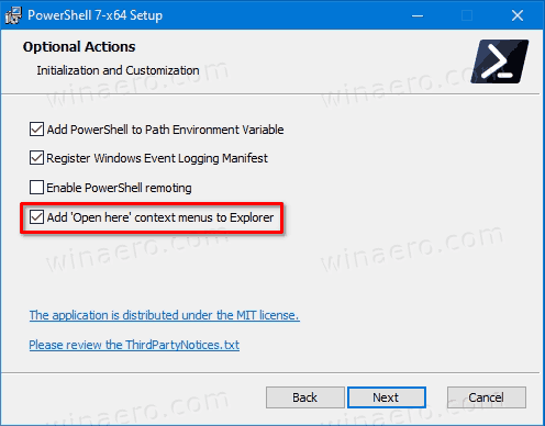 Add PowerShell 7 Open Here Context Menu In Windows 10