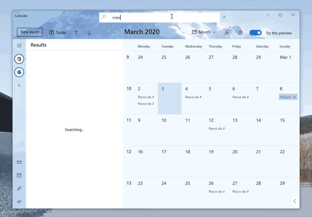 Calendar Search Feature 1