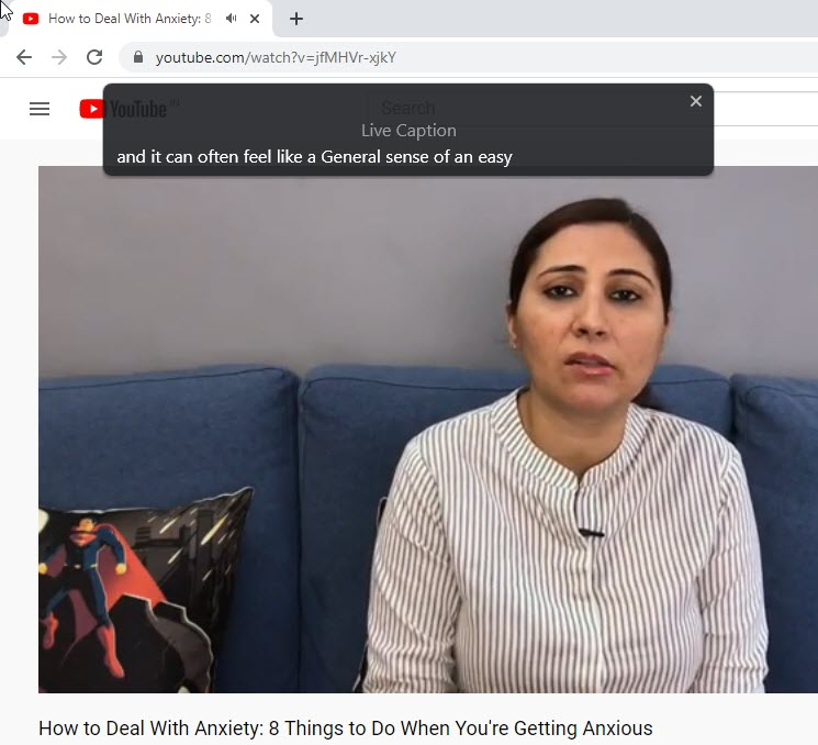 Chrome Showing Live Captions For YouTube Video 1