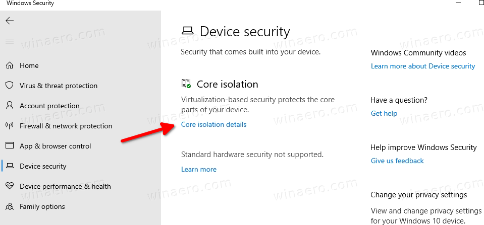Core Isolation In Windows Security