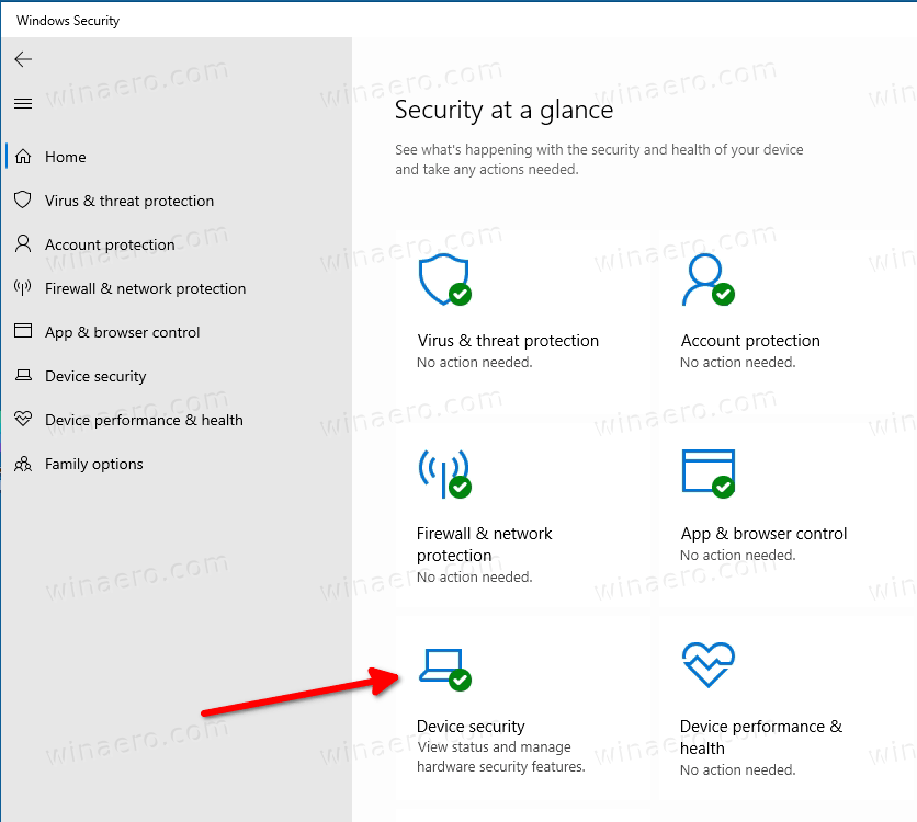 Device Security Category In Windows Security