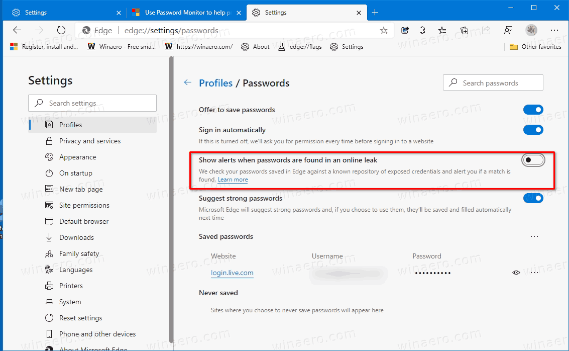 Disable Password Monitor In Microsoft Edge