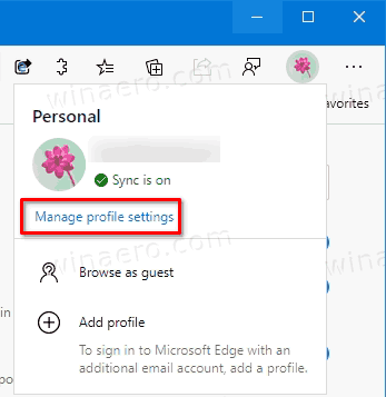 Edge Manage Profile Settings Link