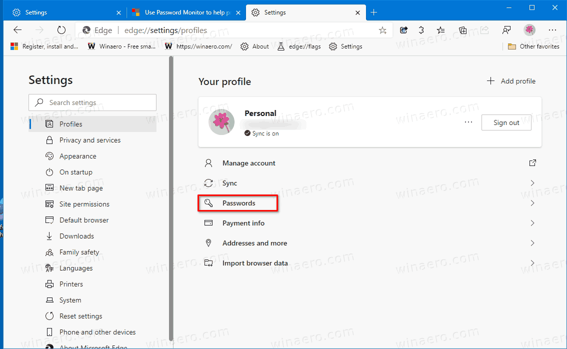 Edge Passwords Link In Settings Profiles