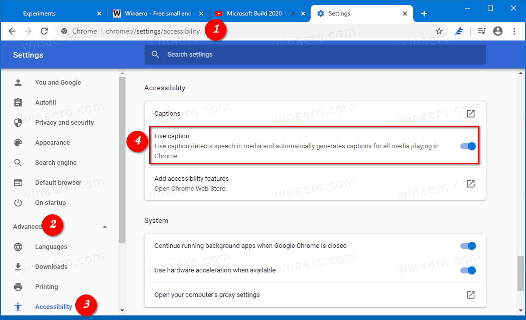 Enable Live Captions In Google Chrome Settings