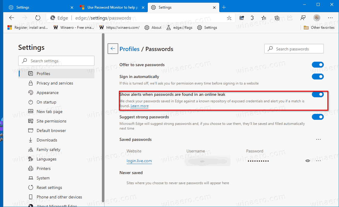 Enable Password Monitor In Microsoft Edge