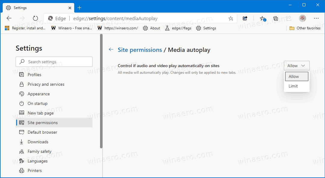 Enable Or Disable Media Autoplay In Microsoft Edge