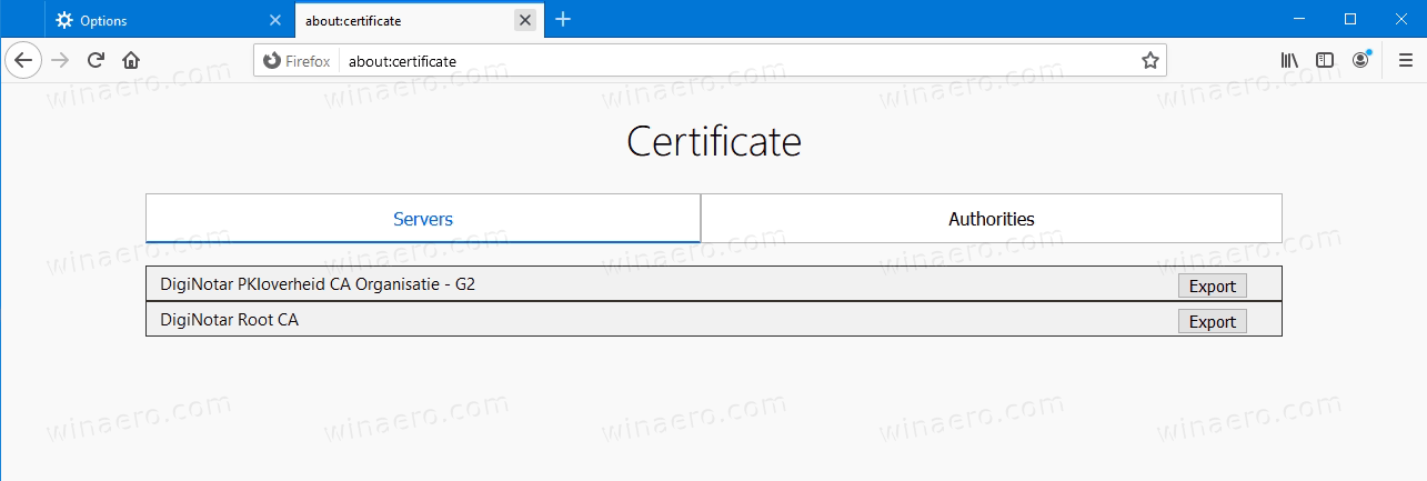 Firefox 77 About:certificate