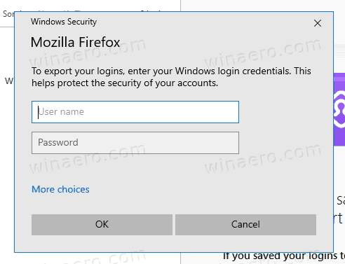 Firefox Export Saved Passwords Confirmation