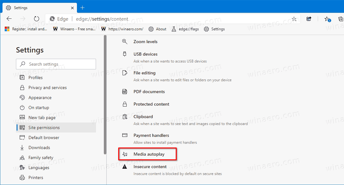 Media Autoplay Blocking Option In Edge