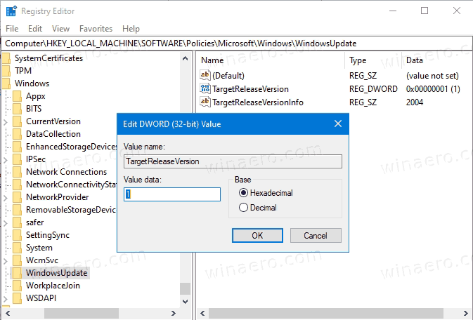 Set Target Feature Update Version In Windows 10 Registry 1