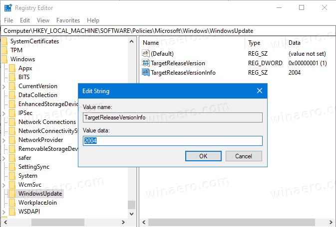 Set Target Feature Update Version In Windows 10 Registry 2
